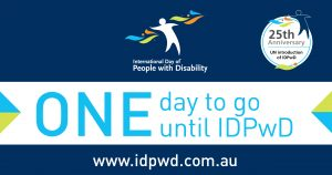 "Promotional countdown banner with ""one day to go"" text for International Day of People with Disability"