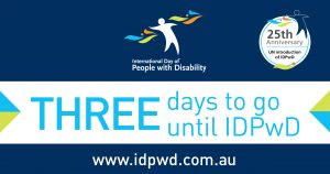 "Promotional countdown banner with ""three days to go"" text for International Day of People with Disability"