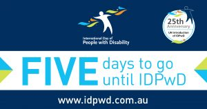 "Promotional countdown banner with ""five days to go"" text for International Day of People with Disability"