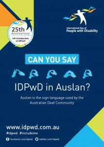 Promotional poster for International Day of People with Disability