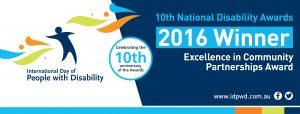 Winner - Excellence in Community Partnerships Award banner