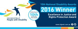 Winner - Excellence in Justice and Rights Protection Award banner