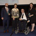 excellence in inclusive service delivery award joint winners determined2 and nightlife disability services with assistant minister prentice