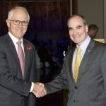 prime minister malcolm turnbull and finn pratt ao secretary department of social services at 10th national disability awards