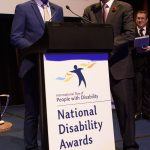 Prime Minister Malcolm Turnbull presenting the Excellence in Technology Award to Dr Abolfathi