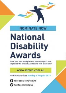 Promotional poster for the 2017 National Disability Awards